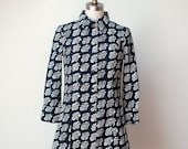 1960s Floral Print Shirt Dress Marimekko Mini Dress