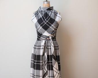 1950s Plaid Wrap Dress / 50s Black and White Sundress
