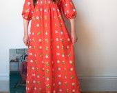 1970s Orange Floral Print Puff Sleeve Dress Vintage Marimekko Maxi Dress 1977