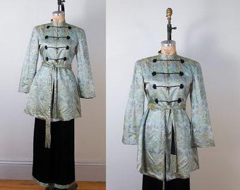 1940s Chinese Lounge Pajamas   40s Silk Brocade Smoking Jacket   Pants Set 460bf347f