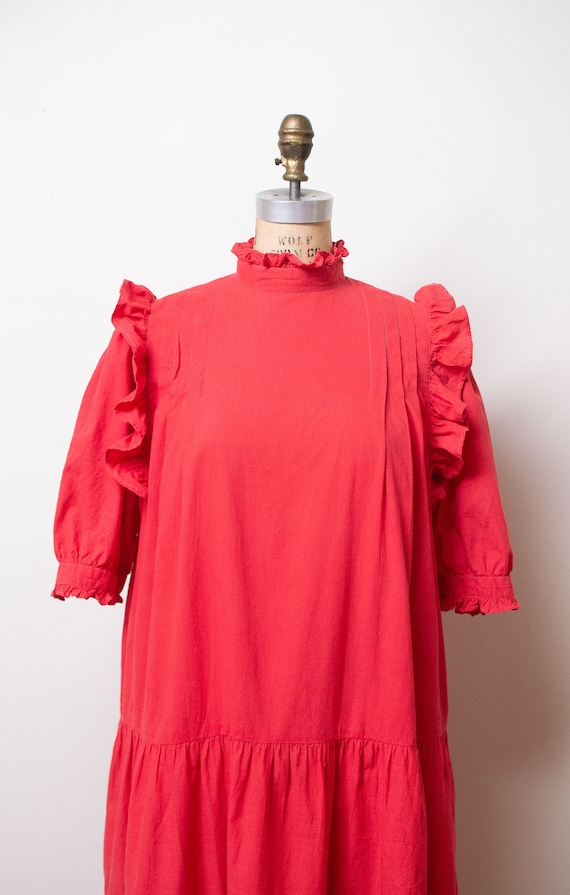 Vintage 1970s Ruffled Cotton Dress / Red Indian C… - image 3