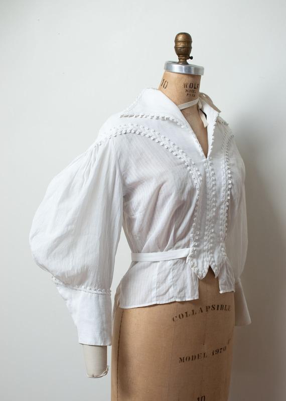 1930s Gigot Sleeve Blouse / Antique 1840s Revival