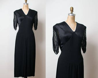 1940s Satin Dress / 40s Black Lace Dress