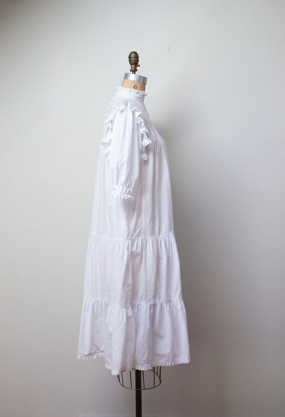 1970s Indian Cotton Dress | 1970s White Ruffled D… - image 4