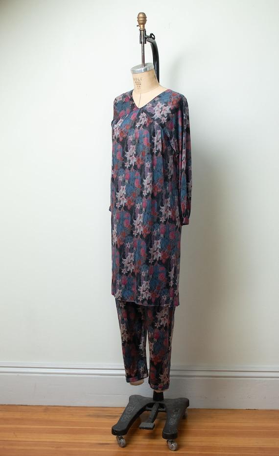 1970s Floral Print Silk Jersey Set |Vintage 70s M… - image 4