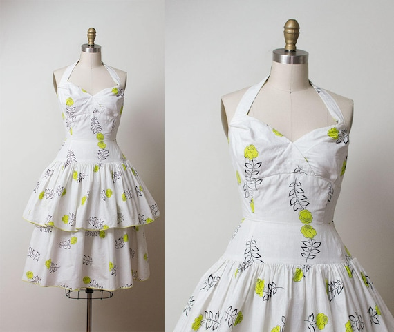 1950s Rose Print Dress / 50s Peplum Halter Dress