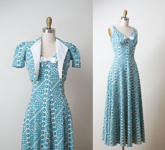 1930s Dress / 30s Printed Cotton Pique Gown & Bole