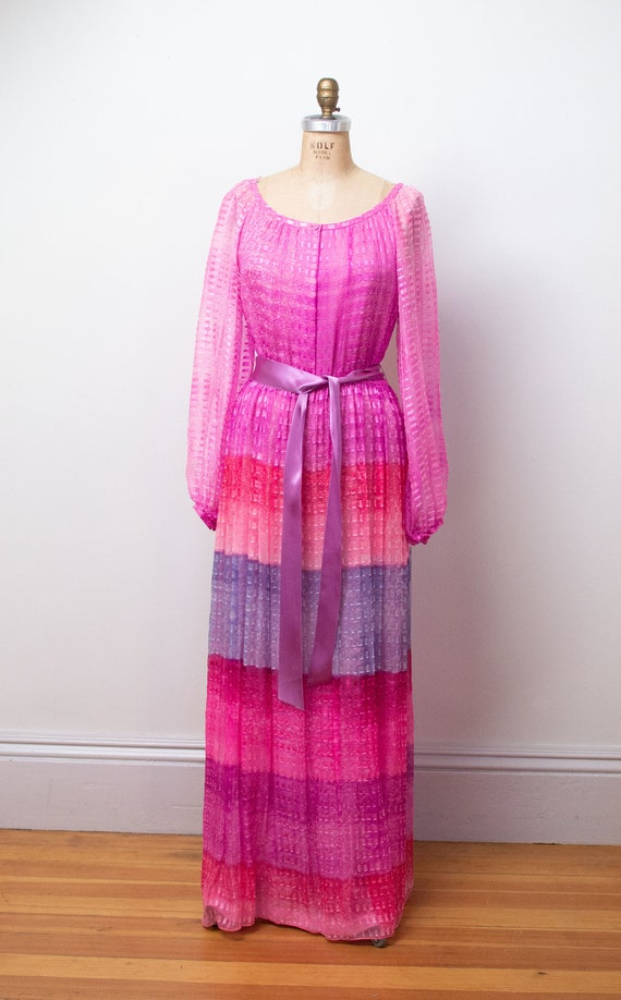 1980s Ombre Chiffon Dress   80s Evening Gown Hanae