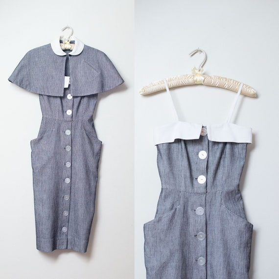 1940s Sundress / 40s Wiggle dress w matching caple