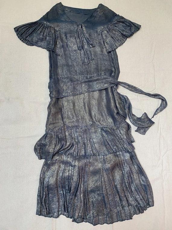1920s Blue Lamé Dress | 20s Dress AS IS - image 3
