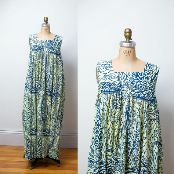 1970s African Printed Cotton Sundress / Abstract B