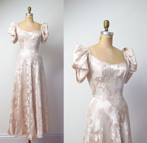 1930s Gown / 30s Damask Wedding Dress