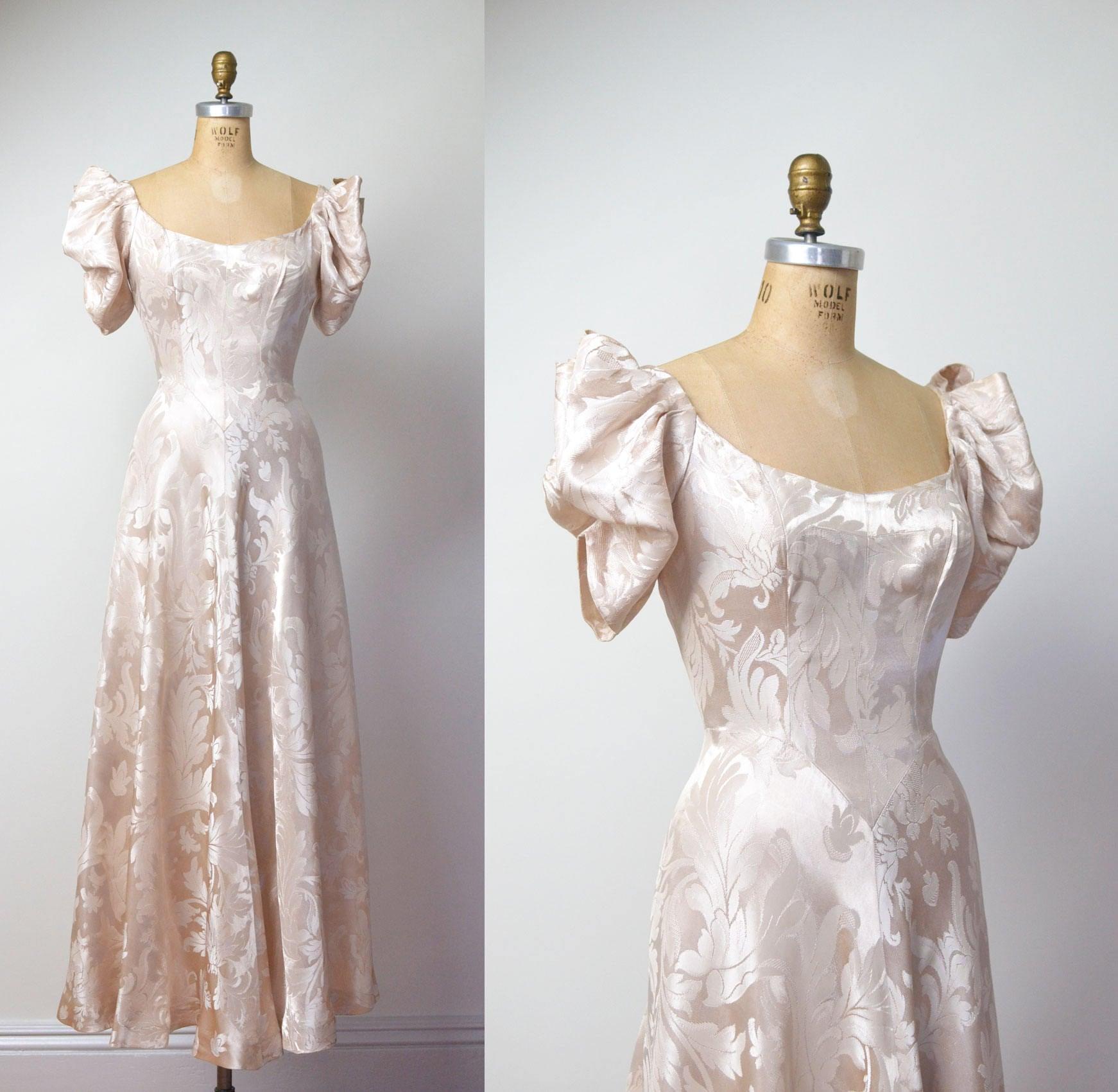 1930s Wedding Dresses: 1930s Gown / 30s Damask Wedding Dress