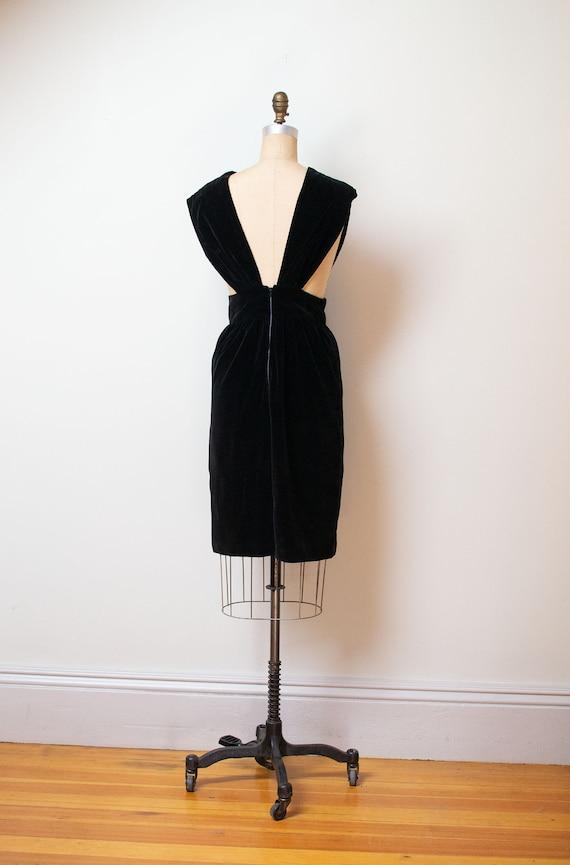 1940s Velvet Pinafore | 40s Fur Trim Dress - image 4