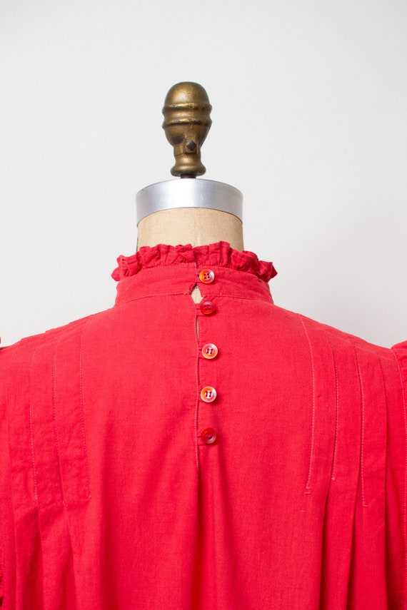 Vintage 1970s Ruffled Cotton Dress / Red Indian C… - image 4
