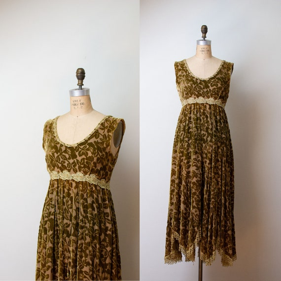 1990s Devore Velvet Dress / 90s Olive Green Burnou