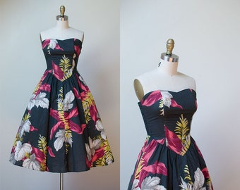 1980s Cotton Sundress / 50s Style Strapless Floral Print Dress