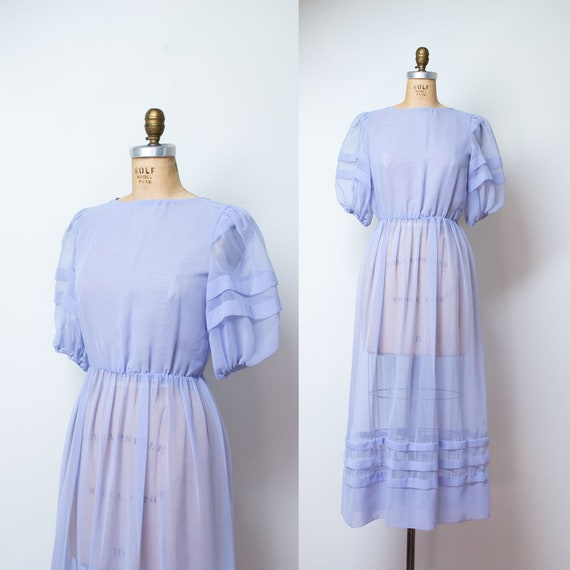 1980s Sheer Puff Sleeve Dress / 80s Periwinkle Chi