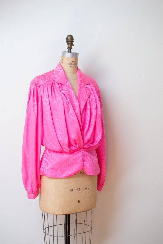 1980s Pink Silk Blouse - image 2