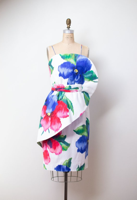 1980s Sculptural Floral Print Dress \ 80s Cotton S