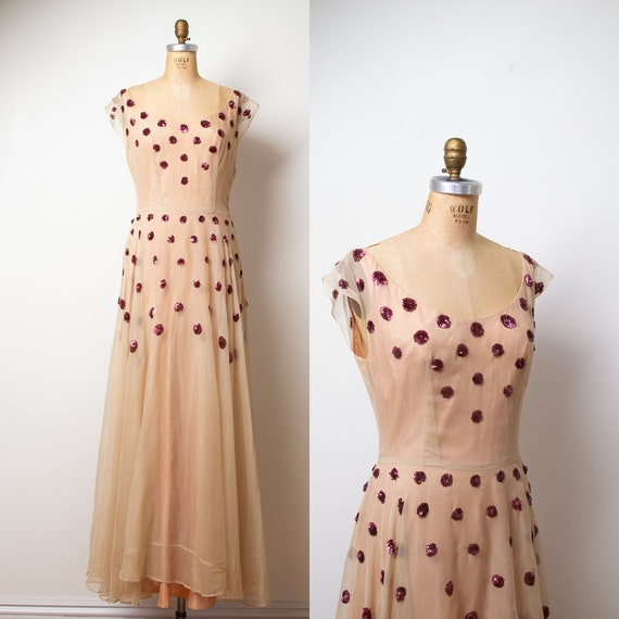 1940s Sequin Evening Gown / 40s Sheer Beige Dress
