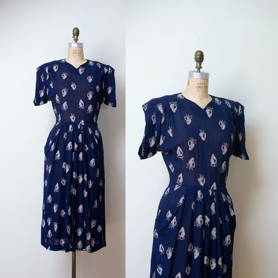 1940s Navy Blue Strawberry Print Dress / 40s Fruit