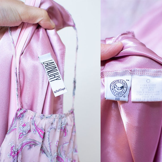 1990s Bias Cut Gown / 90s Laundry Paisley Chiffon… - image 10