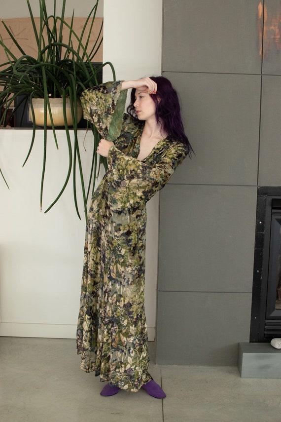 1930s Mossy Green Devore Velvet Dress / 30s Bias … - image 6