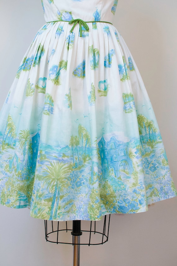 1950s Novelty Print Dress / 50s Tropical Border P… - image 6
