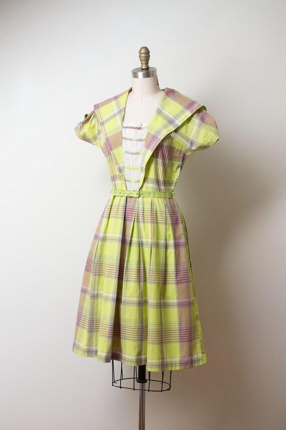 1940s Chartruse Plaid dress - image 2
