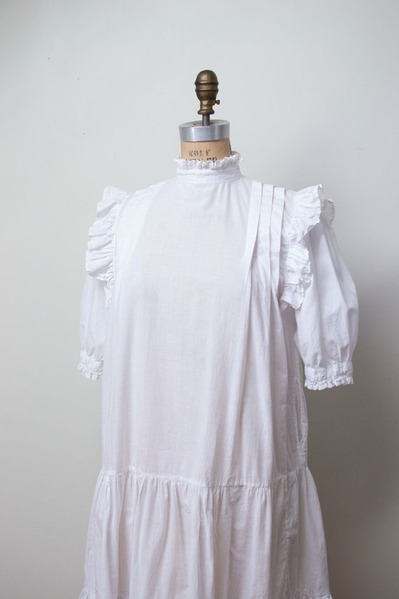 1970s Indian Cotton Dress | 1970s White Ruffled D… - image 3