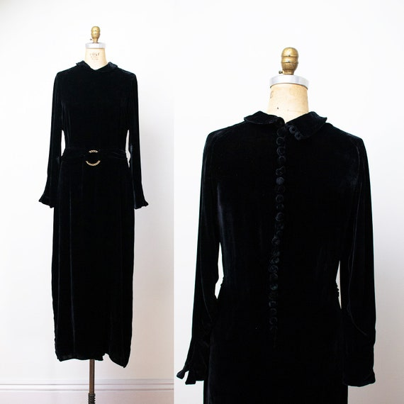 1930s Black Velvet Dress / 30s FOGA Dress