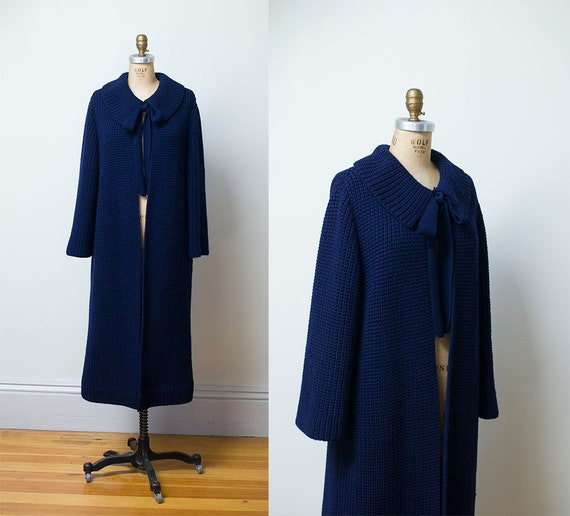 1960s Sweater Coat / 60s Goldworm Navy Blue Duster