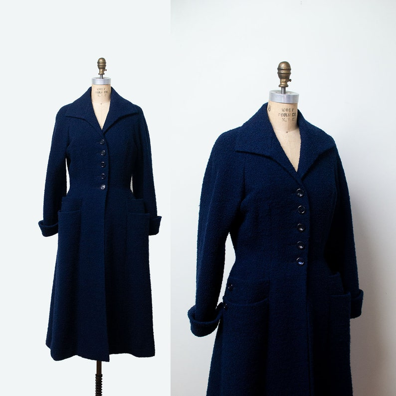 SALE! 1950s Princess Coat / 50s Sophie Gimbal Saks Fifth Avenue Navy Blue  Boucle Coat