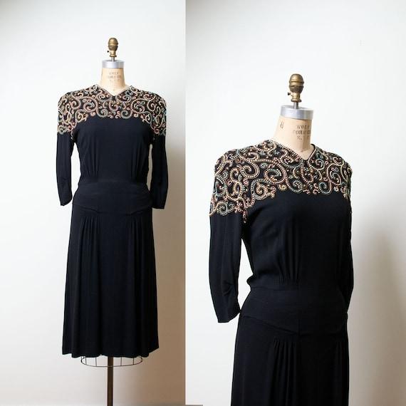 1940s Black Rayon Studded Dress / 40s Dress