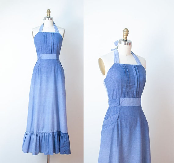 1970s Chambray Maxi Dress / 70s Ombre Halter Dress