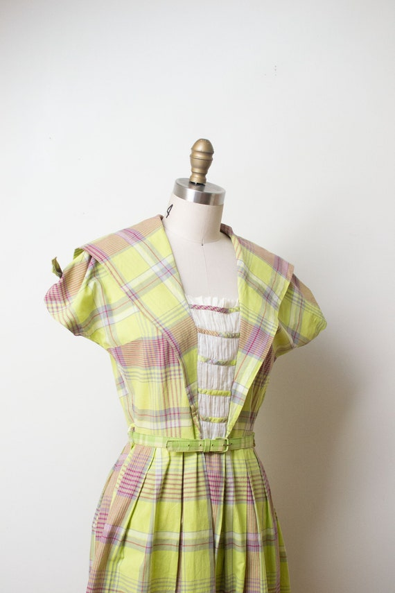 1940s Chartruse Plaid dress