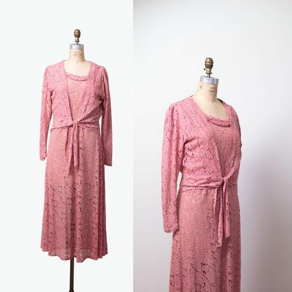 1930s Pink Lace Dress / 30s Dress and Blouse Jacke