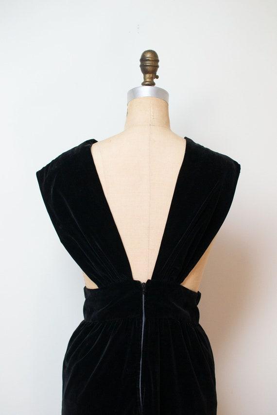 1940s Velvet Pinafore | 40s Fur Trim Dress - image 6
