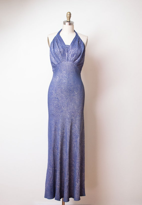 1930s Blue Lame Gown / 30s Halter Dress