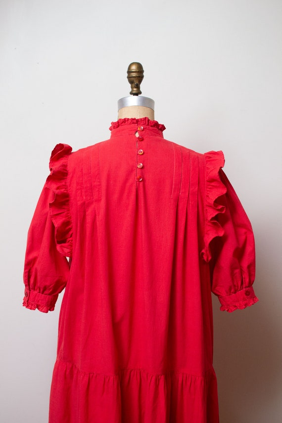 Vintage 1970s Ruffled Cotton Dress / Red Indian C… - image 2