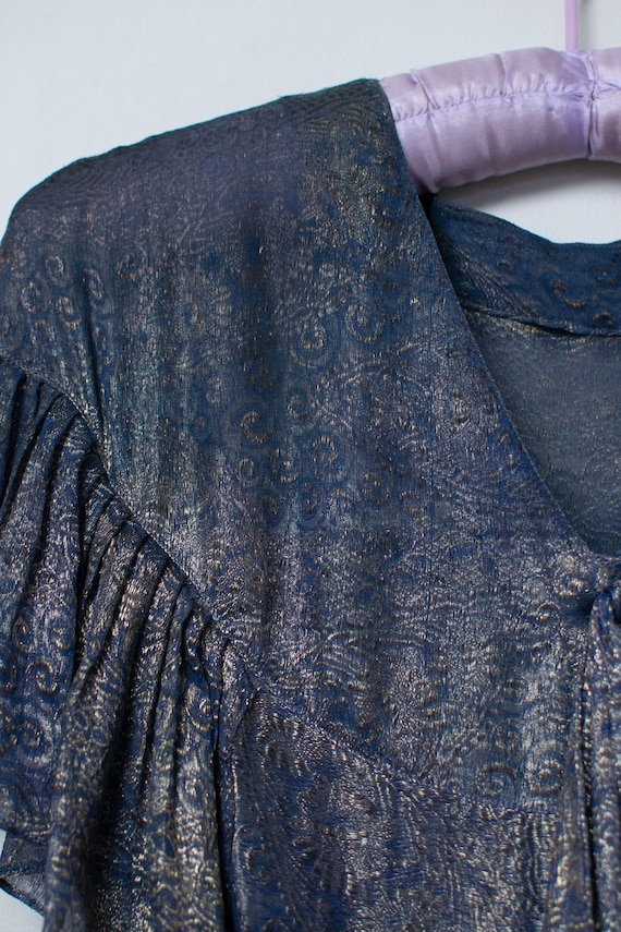 1920s Blue Lamé Dress | 20s Dress AS IS - image 5