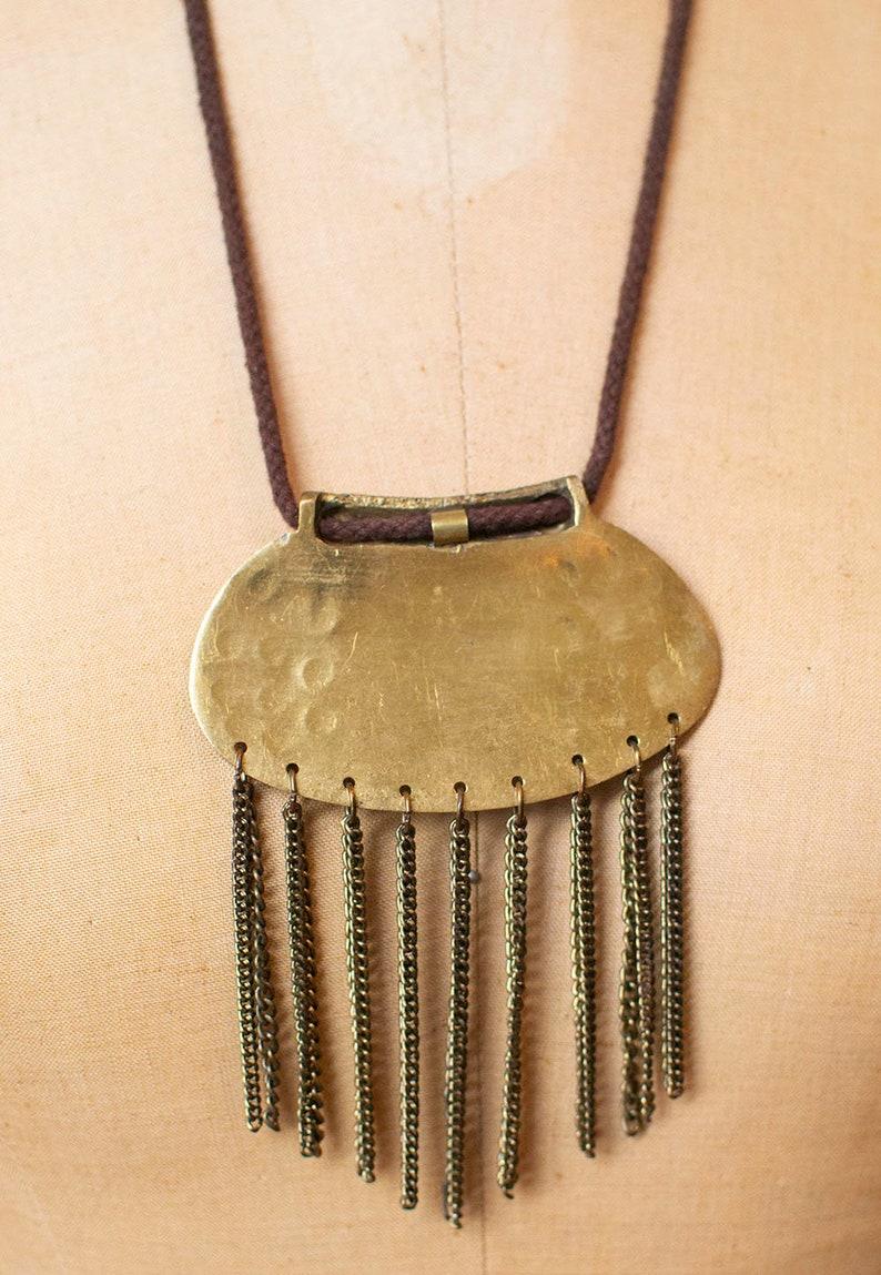 Vintage Metal Finge Necklace  80s Statements Necklace