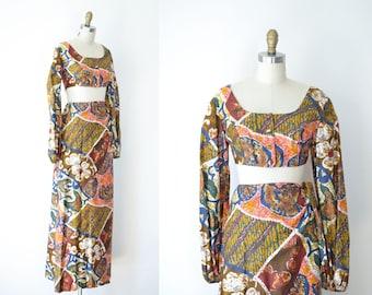 1960s Batik Dress / 60s 70s Sarong Skirt and Crop Top