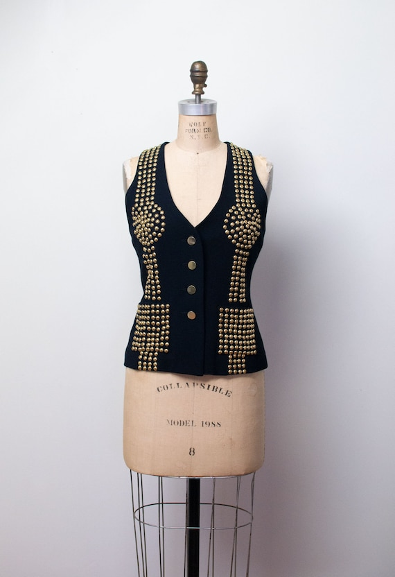 1990s Studded Vest | 90s Black Wool Top Todd Oldha