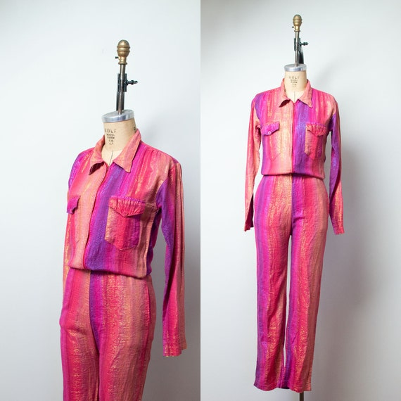 1980s Ombre Lurex Jumpsuit / 70s 80s Indian Cotton