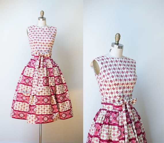 1950s Sundress / 50s Two Piece Wrap Dress