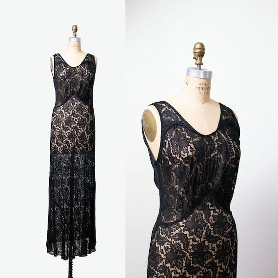 1930s Black Lace Gown / 30s Bias Cut Dress
