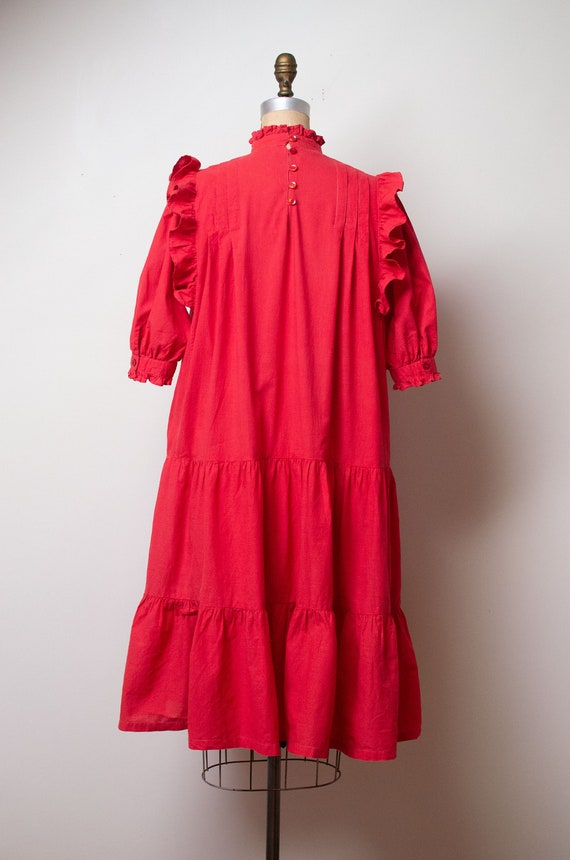 Vintage 1970s Ruffled Cotton Dress / Red Indian C… - image 6