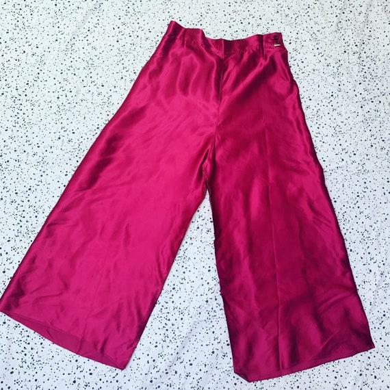1940s Magenta Pink Satin Pallazo Pants / 40s NOS W